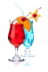 Two tropical cocktails: red and blue