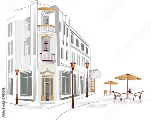 Keuken foto achterwand Drawn Street cafe Old part of the city with cafe