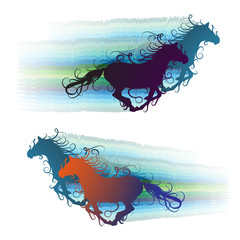 Colored horse silhouette with jets