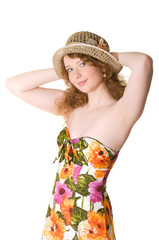 A girl in a straw hat