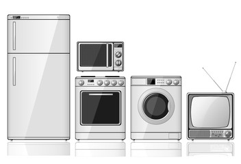 Set of realistic household appliances over white background