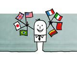 businessman & flags