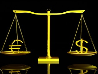 Euro and Dollar on balance