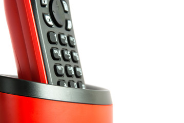 Red and black telephone close-up