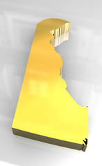 3d made golden map of Delaware