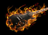 Fototapety Electric guitar in fire and flames