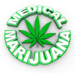 Medical Marijuana - Words and Leaf Icon