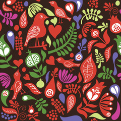 color seamless pattern with floral elements