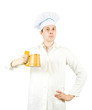male cook with beer mug