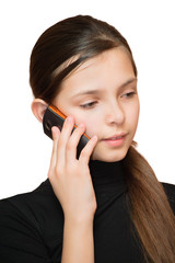 Young teen girl calling by phone