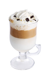 Latte macchiato with coffee beans on white isolated background