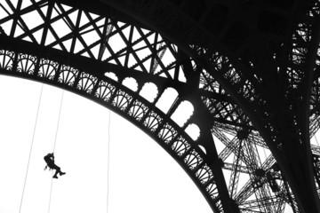 Fireman training on Eiffel Tower, Paris