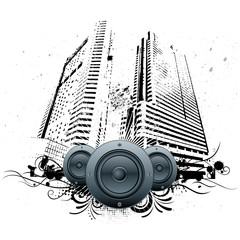 vector illustration of urban grunge city with speakers