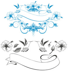 Outline Vector Illustration of Hibiscus and Hummingbird