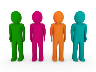 3d human team green pink orange turquoise