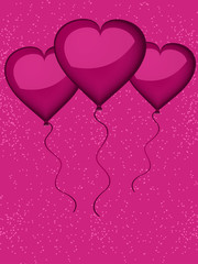 Pink valentine heart shaped balloons