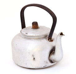 old dirty classic kettle isolated on white background