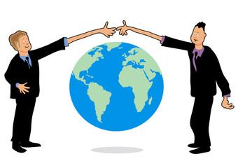 Businessmen handshake over the world