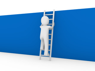3d human ladder wall blue