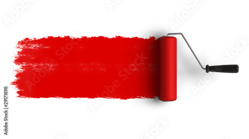 Leinwandbild Motiv Red roller brush with trail of paint