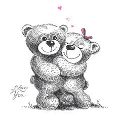 Couple of hugging teddy bears. Hand drawn illustration.