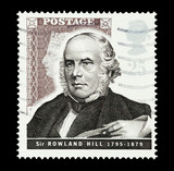 UK stamp featuring Sir Rowland Hill, pioneer of mail postage poster