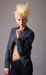 emotive attractive punk blonde girl