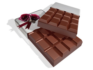 3d hard squre chocolate on white background