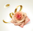 Pink rose in dewdrops with golden ribbon.