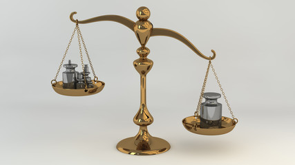 Brass scale with masses on cups