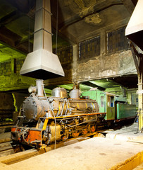 steam locomotive in depot at night, Kostolac, Serbia