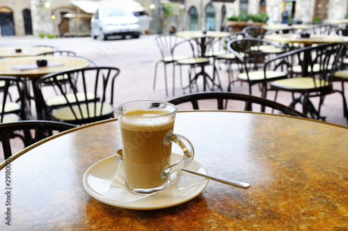 Cafe latte at the terrace of an italian cafe
