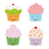 set of four kawaii cupcakes poster