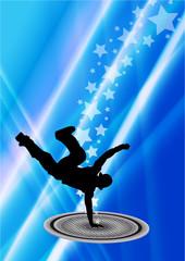 Dancer on blue background