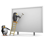 3d Penguins put up an advert on the billboard