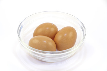 closeup photo of eggs in glass plate