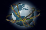 World markets globe with orbiting stock tickers poster