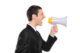 Displeased businessman in black suit shouting via megaphone poster
