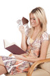 Woman reading with chocolate