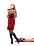 woman with knife and dead leg - murder scene poster