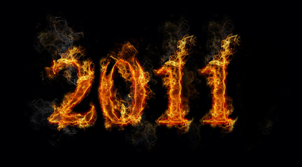 Image of  hot fire 2011 new year background on black