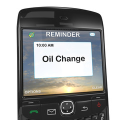 Smart phone reminder, oil change