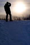 Silhouette of man in winter