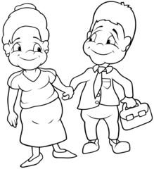 Aunt and Uncle - Black and White Cartoon illustration