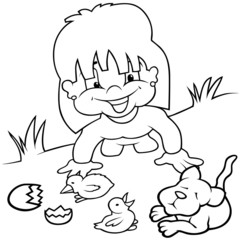 Girl and Young Animals - Black and White Cartoon illustration
