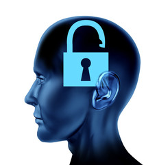 unlock thhe mind memory security head brain symbol