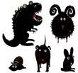 Bélier, chien, escargot, dinosaure et lapin