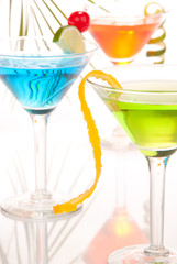 martini party cocktails with lime orange cherry