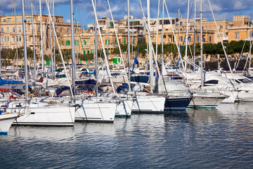 Yachts  lying at Marsamxett harbour