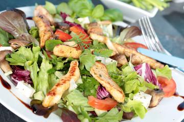 Blattsalat mit Putenstreifen